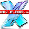 Case for Huawei P30 Lite Slim Shockproof CLEAR GEL Cover Glass Screen Protector