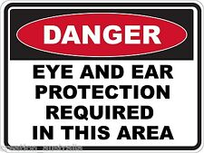 Danger Eye And Ear Protect 5 Sticker Sign Decal Set Public Safety WHS OHS WH&S