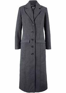 Mantel aus Wollimitat in Maxilänge, 60-589 in Anthrazit Meliert 50