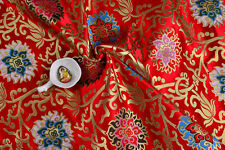 "HEAVY DENSE QUALITY TIBETAN 28"" DAMASK SILK BROCADE SATIN FABRIC : HOLY LOTUS -"