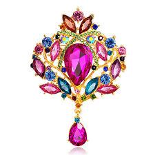 Crystal Rhinestone Alloy Brooch Women Elegant Crown Glass Brooch Wedding Bro ^G