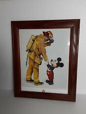 """WALT DISNEY MICKEY MOUSE AND FIREFIGHTER LITHO FRAMED 16""""x12.5"""""""