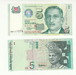 Singapore, Malaysia 2x AUNC banknotes @ low start