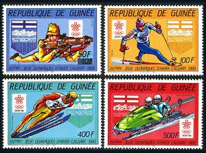 Guinea 1029-1032, MNH. Winter Olympics, Calgary.Biathlon,Skiing,Ski jumping,1987