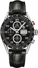CV2A1R.FC6235 TAG Heuer Mens Watch Carrera CAL 16 Black Dial Black Leather Strap