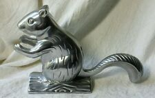 "SQUIRREL NUTCRACKER Cast Metal Silver ALUMINUM FREESTANDING 5.5"" Cute!"