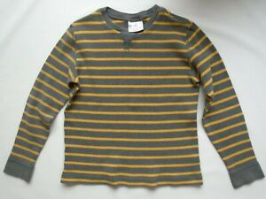 Boys Hanna Andersson size 140 (10) Grey/Yellow Stripe Cotton Thermal Top