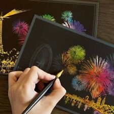 4xMagic Engraving Art Colorful Night View Set Scratch Craft Drawing Paper  Pen
