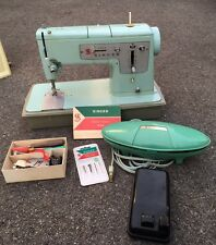 Vintage Singer Heavy Duty Sewing Machine, Model 328 W Accessories Light Blue