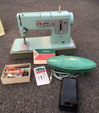 Vintage Singer Heavy Duty Sewing Machine, Model 328 W Accessories Light Blue