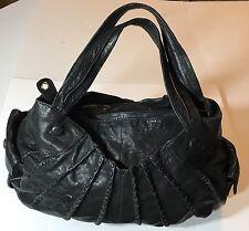 JUNIOR DRAKE Chocolate Brown Leather XL Multi Pocket  Hobo Shoulder Bag EUC