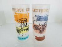 Anchor Hocking Glasses Antique Auto Set of 2 Highball/Tom Collins Set of 2 Vtg
