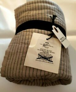 Hearth & Hand with Magnolia ONE Microstripe Cotton Standard Taupe Navy Sham