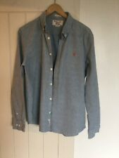 Mens Penguin Long Sleeved Grey/Blue Shirt Large **Excellent Condition**