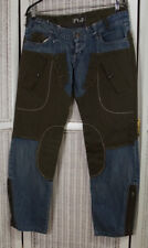 "ANNA BIAGINI Jeans 34""W 30.5""L Blue Denim / Olive Green Cargo Style - Sold As-Is"