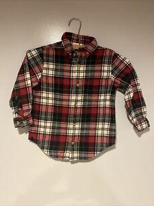 Hanna Andersson Boys Flannel Long Sleeve Shirt Size 100