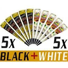 5 BLACK+5 WHITE Quick Dry Instant Golecha Dark Henna Mehandi cone Body Art cone