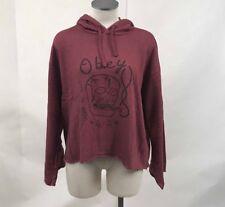 Obey Women's Hoodie Sweatshirt Life is Hell Heather Maroon Size S NWT Skull Weed