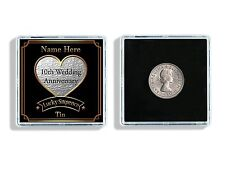 Personalised 10th Wedding Anniversary Lucky Sixpence Keepsake Display Case W65