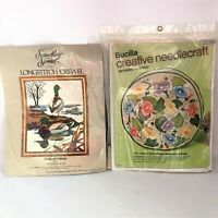 Bucilla & Something Special Complete Long Stitch Crewel Work Kits Floral Ducks