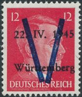 Stamp Germany 1945 WW2 Fascism Local Hitler Head Wurttemberg 12 PF MNG