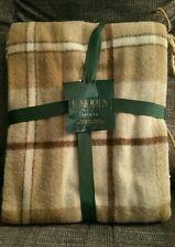 New Ralph Lauren Estate TAN brown PLAID WOOL BLEND Fringed Throw Blanket 50x70