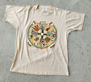 Vtg 90s Hazelwood Tshirt L Native American Indian Southwest Single Stitch Faded