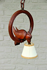 Vintage French Black forest wood carved bird pendant chandelier lamp