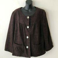 J. Jill Cropped Jacquard Floral Jacket Blazer Lined Brown Women's Size 18