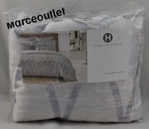 Hotel Collection Dimensional KING Duvet Cover Silver Blue