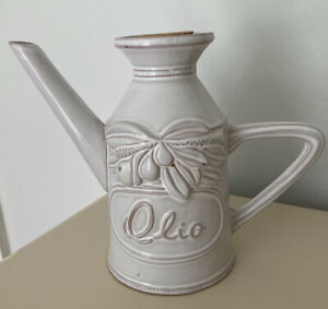 Ceramic Italian Olive Oil Can Bottle With Handle Cork and Spout