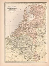 1882 LARGE ANTIQUE MAP - BELGIUM AND THE NETHERLANDS
