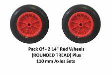 """2 Pack 14"""" PU CARRIOLA Solido Rosso Ruota Trolley Round PNEUMATICO pieno di schiuma + Assi"""