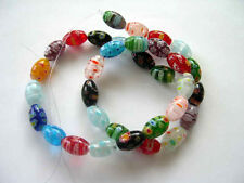 Millefiori glass rice beads 8X12mm multi color