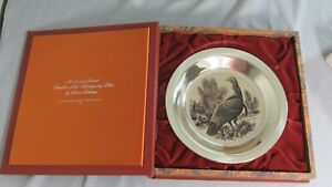 1973 Franklin Mint STERLING SILVER Wild Turkey PLATE w/Box/Documentation 6.2OZ