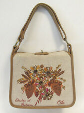 "VINTAGE 1960s ENID COLLINS ""SHADES OF AUTUMN"" HANDBAG SHOULDER BAG CANVAS JEWELS"