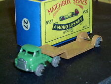 Matchbox Moko Lesney Bedford Low Loader 27 a2 grn tan MW F-C SC3 VNM crafted box