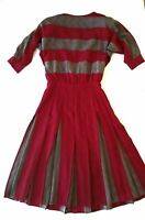 VTG MAGGY LONDON Dress size 8 By Jeannene Booher 100% SILK Red Gray Striped 80s