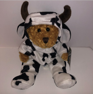 """Sonoma Home Goods Bear Plush Bear in Cow Outfit Costume 12"""" Stuffed Animal Tag"""