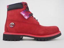 Para hombre Timberland 6 Pulgadas Premium A1WH4 Botas Con Cordones Cuero Rojo Rubí