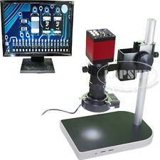 100X 60FPS HDMI VGA HD Industrial Lab C-mount Microscope Camera Stand LED Light