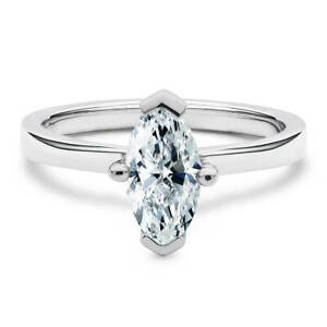 14K White Gold 1 Carat Marquise Cut Moissanite Classic Solitaire Engagement Ring