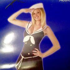 Sexy Sailor Adult Costume- Navy Sailor Dress w/ Halter Collar Hat & M/L (10-14)