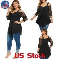 Women Lace Long Sleeve Off Shoulder Tops T Shirt Blouse Loose Casual Plus Size