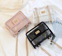 Womens Transparent Handbag Tote Messenger Bag Clear Jelly Purse Crossbody Bag