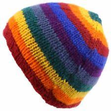 RAINBOW Beanie Hat Wool Knit Stripe LOUDelephant Fleece Lined Warm Winter
