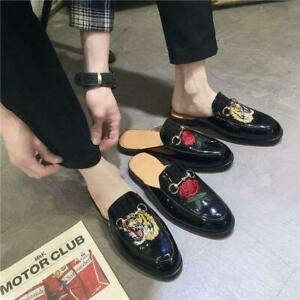 chic Mens Patent Leather Backless Mules Slippers Shoes Slip on Loafers Horsebit