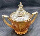 CARNIVAL WONDERFUL US GLASS MARIGOLD COSMOS AND CANE SUGARR BOWL WITH LID