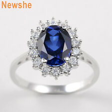 Newshe Gemstone Ring For Women 925 Sterling Silver Oval Blue Sapphire Cz Sz 5-12