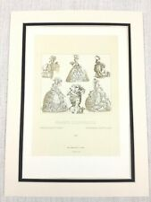 1888 Antique Print French Aristocracy Fashion Marie Antoinette Wig Hat Dress